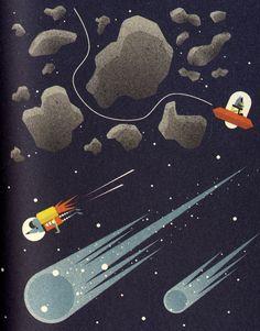 Ilustración de Ben Newman para la obra El profesor Astro Cat y las fronteras del espacio, de Dominic Walliman.