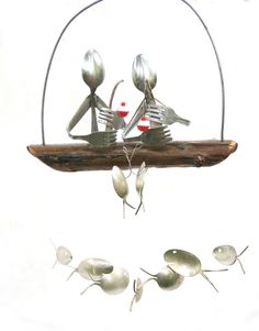 Husband And Wife Fishing Trip Spoon Fish Wind Chimehusband