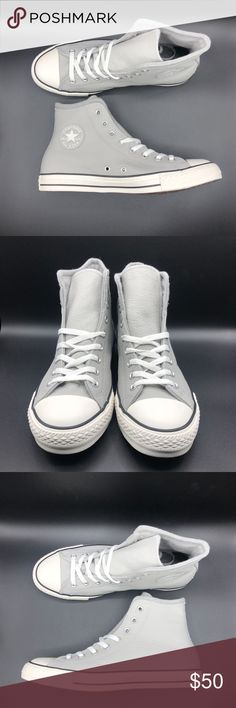 b80dab6359f  Price Firm  Converse Chuck Taylor All Star Grey Converse Chuck Taylor All  Star HI Ash Grey Leather 153818C UNISEX SIZES. (i.e. 8 MENS