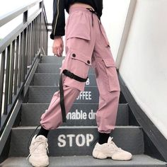 Special Offer of Autumn Streetwear women's pants embroidery Casual Cargo Pants Women Joggers Solid Big Pocket Pants High Waist Loose Female . Cargo Pants Women, Pants For Women, Clothes For Women, Jeans Women, Ladies Pants, Trousers Women, Mode Kpop, Vetement Fashion, Edgy Outfits