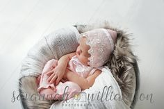LILLY Newborn Romper & Bonnet Set/ Photo Prop, Photography, Baby Girl, Whisper Pink, Ivory Chiffon Embroidered Lace with Ribbon Detail by MissMadisonPhotoProp on Etsy