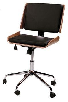 Retro Kontorstol - Smart kontorstol i retro-look. Kontorstolens elegante sæde i en kombination af valnøddetræ og sort kunstlæder samt det formstøbte kromstel, fuldender det eksklusive udtryk. Kontorstolen er derudover på praktiske hjul og kan højdejusteres.