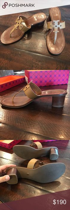"""Tory Burch Moore 45MM Thong Tory Burch Moore 45MM Thong - Elba Tumbled Leather - Size 9 - Royal Tan  Gently worn.  With box and dust bag.   Tory Burch pebbled leather city sandal. Double-T logo at center of thong strap. 2"""" stacked block heel. Leather lining and footbed. """"Moore"""" is made in Brazil. Tory Burch Shoes Sandals"""