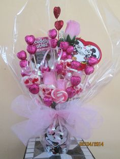 pink valentine's day candy bouquet by ana