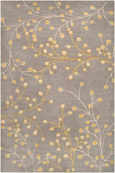 Surya Athena x Rectangle Wool Hand Tufted Floral Area Rug Gray Home Decor Rugs Area Rugs Tropical Area Rugs, Floral Area Rugs, Floral Rug, Grey And Gold, Grey Yellow, Mellow Yellow, Yellow Cream, Yellow Rugs, Mustard Yellow