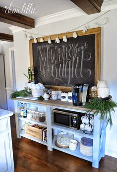Coffee Bar Ideas - Looking for some coffee bar ideas? Here you'll find home coffee bar, DIY coffee bar, and kitchen coffee station. New Kitchen, Kitchen Decor, Kitchen Design, Kitchen Buffet Table, Dear Lillie, Home Coffee Stations, Coffee Corner, Farmhouse Decor, Farmhouse Style