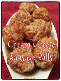 CREAM CHEESE SAUSAGE BALLS   1 lb hot sausage, uncooked 8 oz cream cheese, softened 1 1/4 cups Bisquick 4 oz cheddar cheese, shredded  Preheat oven to 400F.  Get the full instructions at https://www.facebook.com/agelessandskinnyfiberwithcoachmarcus
