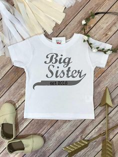 a784f469b Big Sister Shirt, Promoted to Big Sister, Big Sister Gift, Pregnancy  Reveal, Baby Announcement, Big Sister Reveal, Big Sister Established