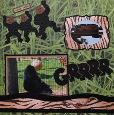 Gorilla scrapbook page at the zoo with the gorilla border and title from Cricut Animal Kingdom