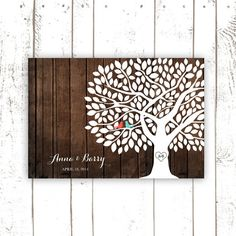 Wedding Guest Book, Wood Guest Book Poster, Rustic Guest Book with Coral and Turquoise Birds