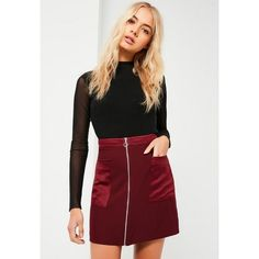 Missguided Pocket Zip Through Satin Back Crepe Mini Skirt ($14) found on Polyvore featuring women's fashion, skirts, mini skirts, burgundy, satin skirt, zipper mini skirt, retro mini skirt, missguided skirt and short mini skirts