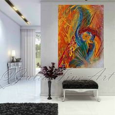 """Thank you so much for viewing my art!    PRINT painting printed on 100% cotton Canvas    The image size and the Print Options are:  1)  No Wrap 42''x30'', with an extra 2.3"""" white border for frame or stretching. (Rolled In A Cardboard Tube)  2)  Ready to Hang 42''x30'' (Stretched Canvas) (Stretched Canvas), Gallery Wrap on 1.6"""" wooden stretcher bars.    This image is High Quality and gorgeous PRINT of original Hand-painted abstract painting ''When We Meet Again'' by Julia Apostolova.    THIS…"""