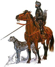 """Chevalier espagnol avec son chien de chasse, 1500 - 1540"", Angus McBride"