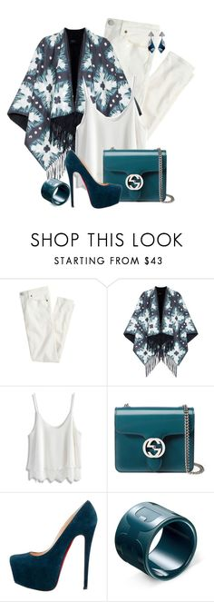 """""""Teal / White"""" by feelgood35 ❤ liked on Polyvore featuring J.Crew, Burberry, Chicwish, Gucci, Christian Louboutin and Lulu Frost"""