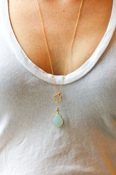 Long gold necklace - long lariat necklace - blue stone necklace - gold jewelry - chalcedony necklace - Sea and Cake jewelry Simple Jewelry, Cute Jewelry, Jewelry Accessories, Fashion Accessories, Jewelry Design, Fashion Jewelry, Jewlery, Gold Jewelry, Lariat Necklace
