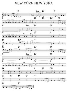 Music ~ Partition New york new york piano guitare Accordion Sheet Music, Jazz Sheet Music, Trumpet Sheet Music, Saxophone Sheet Music, Sheet Music Pdf, Song Sheet, Violin Music, Music Sheets, Piano Jazz