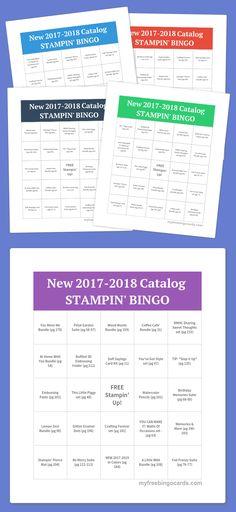 Stampin' BINGO card #2 for the New 2017-20018 Stampin' Up! Catalog. Free Bingo card generator at myfreebingocards.com
