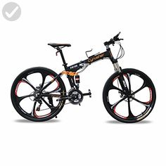 Cyrusher FR100 Men's Full Suspenion 24 Speeds Folding Mountain Bike with 17-Inch X 26-Inch Aluminium Frame Disc Brake, Black (26-Inch) - Useful things for bikers (*Amazon Partner-Link)