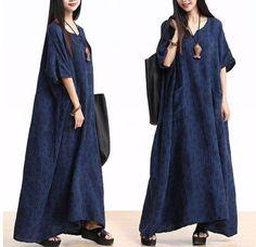 Plus Size Cotton Linen Maxi Dress Loose Fitting Bat Sleeve Summer Dresses
