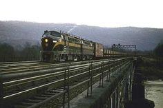 Pennsylvania Railroad Baldwin RF-16, PRR mainline, Lewistown, Pennsylvania, December 31, 1956 - Ore empties move east behind Baldwin sharks.
