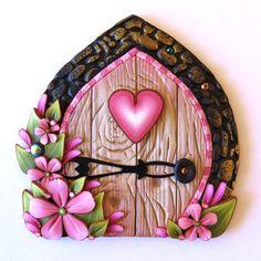 Valentine Fairy Door Pixie Portal in Sweetheart Pink by Claybykim