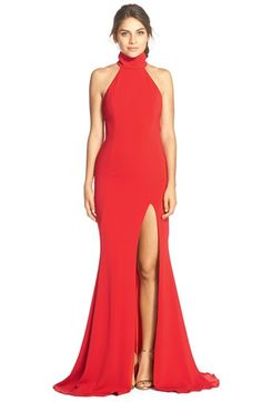 Free shipping and returns on Jay Godfrey 'Cameo' Backless Crepe Gown at Nordstrom.com. Make a dramatic entrance in this floor-sweeping gown styled with a contemporary mock neck, revealing open back and alluring leg slit that shows off your heels.