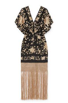 Johanna Ortiz Siglo De Las Luces Floral-embroidered Silk Dress In Black Gold Smart Dress Code, Dress Outfits, Prom Dresses, Fringe Skirt, Silk Dress, Silk Skirt, Boho Dress, Embroidered Silk, Clothes For Sale