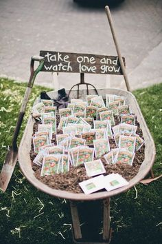 26 seed wedding favors wheel barrow