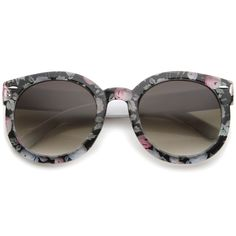 1a6c6e794a5 Women s Fashion Floral Printed Gradient Lens Oversized Round Sunglasses  53mm  sunglasses  frame  sunglass. sunglass.la