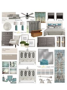 The Yellow Cape Cod: Gray Teal Transitional Master Bedroom Sanctuary - Jessica Design Teal Master Bedroom, Farmhouse Master Bedroom, Cape Cod, White Fireplace, Transitional Decor, Contemporary Home Decor, Bedroom Sanctuary, Bed Styling, Home Decor Bedroom