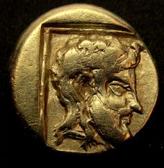 LESBOS. Mytilene.-Dionysus and Youth-.Very rare ancient Greek Gold Coin.Electrum