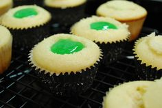 """Filling up the cupcakes with """"slime"""""""