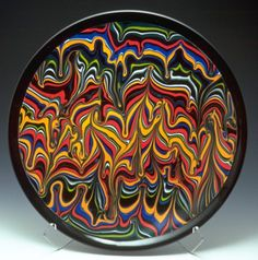 Patty Gray's combed glass plate.  She is a fused glass artist I admire.  I took a 3 day class from her in Las Vegas and I learned a lot.
