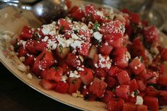 Watermelon, Feta, Mint & Serrano Pepper Salad A&N Catering in Oxford, MS Photo: Brandall Atkinson Photography