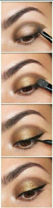 Gold eyeshadow on asian eyes