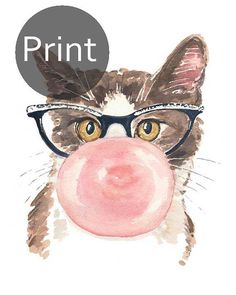 Katze Aquarell drucken Kaugummi Katze Auge Gläser 11 x 14