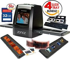 in the picture:zonoz FS-ONE 22MP Ultra High-Resolution 35mm Negative Film & Slide Digital Converter Scanner w/ TV Cable, (1) Negative, (4) Slide Trays, 32GB SD Card & Worldwide Voltage 110V/240V AC Adapter (Bundle) lots of color options – get more i...