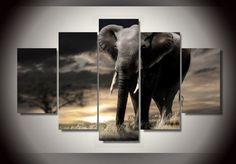 5 Pieces Multi Panel Modern Home Decor Framed Africa Elephant Wall Canvas Art - Octo Treasures - 1 Poster Pictures, Canvas Pictures, Art Pictures, Elephant Canvas Art, 5 Panel Wall Art, Custom Canvas, Nature Paintings, Canvas Wall Art, Painting Canvas