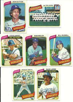 1980 Topps DODGERS 28 card NM team set HOF SUTTON Welch Russell Garvey Lopes #LosAngelesDodgers