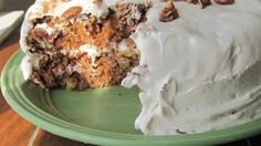 This carrot cake recipe combines carrots, pineapple, raisins, and walnuts to make a moist and satisfying dessert.