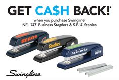 Earn up to a $100 Visa Gift Card when you purchase Swingline NFL 747 Business Staplers & S.F. 4 Staples #rebate
