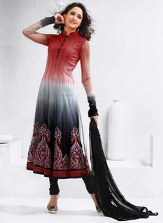 Dual Shaded Net Anarkali Salwar Suit Red And Grey Dual Shaded