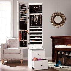 Mirrored Tile Wall Mounted Jewelry Armoire Mirror tiles