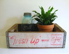 Seven Up Crate Wood 7Up Soda Crate Storage by RollingHillsVintage, $25.00