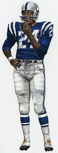 Lenny Moore, Flanker Baltimore Colts, 1957. Art by Merv Corning.