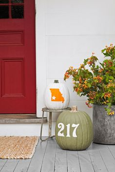 First, you'll need number stickers ($8 for four; etsy.com/shop/ doodlebugdesignstn), as well as a decal in the shape of your state ($4.99; vinyldecals.com).  Apply it to one pumpkin, and the numbers to another, then use a foam brush to cover both pumpkins with two coats of acrylic paint, allowing 30 minutes of drying time per coat. Remove the decals and discard