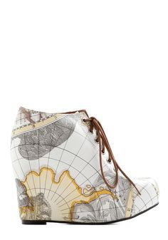Mapmaking Your Move Wedge. Chart your course toward extraordinary style when you don these 99 Tie wedges by Jeffrey Campbell! #multi #modcloth