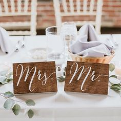 Paper and Pine Co. www.paperandpineco.com www.etsy.com/shop/PaperandPineCo wood wedding signs Mr and Mrs table signs for your sweetheart table! #weddingsign #mrandmrs #weddingsigns #woodsign #woodsigns #weddingdecor #paperandpineco