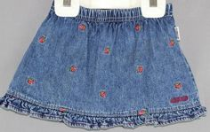 Lot of 2 Denim Embroidered Skirts Osh Kosh Size 24 mos & Star Ride Size 2T #OshKoshStarRide