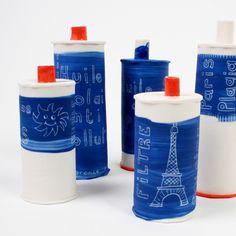 Ironical pottery by L'atelier des garçons. Les bidons bidons #ceramics #pottery
